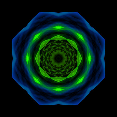 heptagon: Caleidocopico green and blue Stock Photo