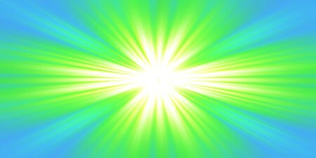 Explosion of green light on blue