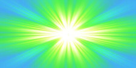 Explosion of green light on blue