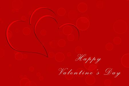Illustration of red with two hearts and stylized that read Happy Valentines Day,