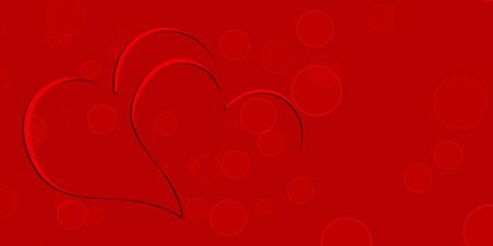 Red Stylized template with two hearts - Valentines Day Stock Photo
