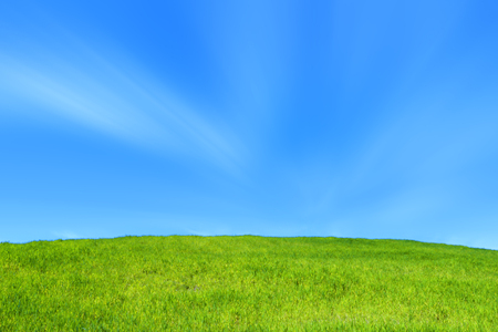 green hill - blue sky - eco nature spring Stock Photo