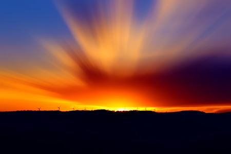 Beautiful sunset with vivid colors, red, orange and blue. Stock Photo