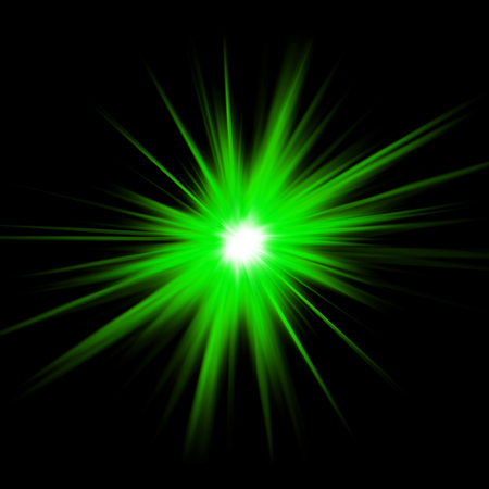 Green light glow _ green laser on a black background Imagens