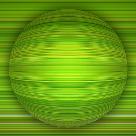 Green abstract background with a large sphere and horizontal lines