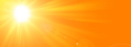 Sunny summer background with the bright sun on an orange background