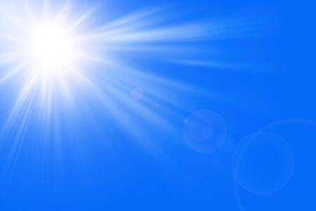 Sun rays in a blue sky _ Paradise