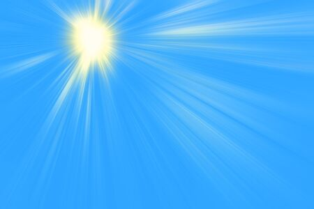 Background sunny sky, blue with sun and lens flare, 写真素材