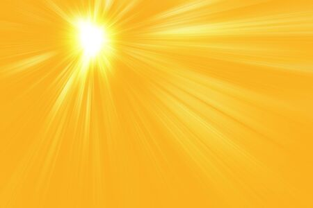 Sunrays, warm sun on a yellow background. Imagens