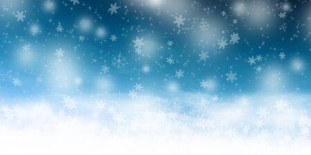 Illustrazione invernale di Natale con stelle e fiocchi di neve