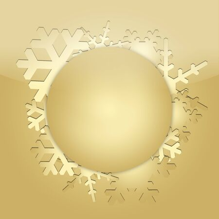 Christmas with gold cut paper and decorative wreath with snowflakes. Template for Christmas cards 写真素材
