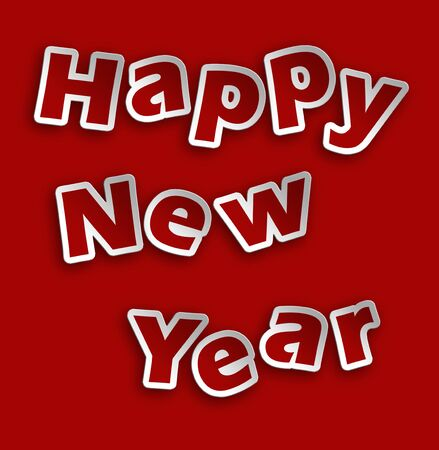 happy new year illustration with relief writing