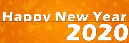 happy new year 2020 orange with snowflakes Stock Photo