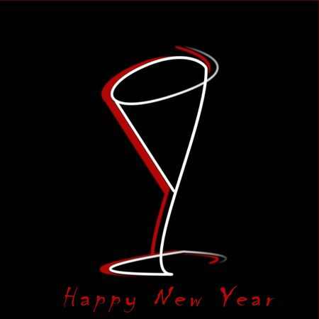 Drawing of a glass for New Year's toast