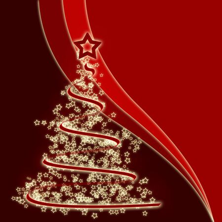 Stylized Christmas tree on a red background Stock Photo