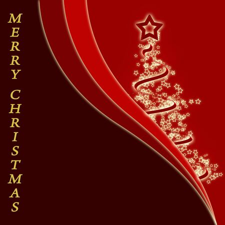 Stylized Christmas tree on a red background Archivio Fotografico