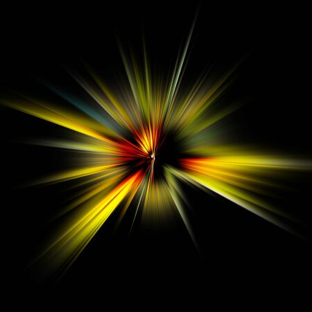 yellow laser light on a black background