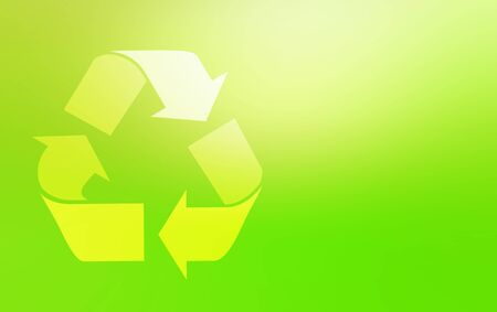Illustration with Green recycling symbol of garbage cans Archivio Fotografico