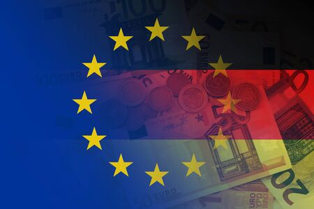 Flag of Europe and flag of Germany with euro notes and coins as a background
