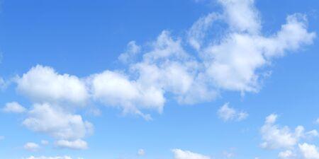 Cielo panorámico azul con cúmulos de nubes blancas, Hd