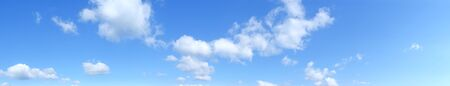 Blue panoramic sky with cumulus of white clouds, HD
