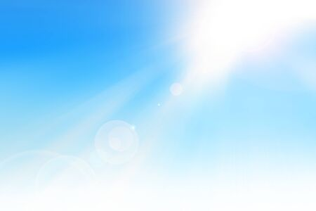 Ray of sunshine in the blue sky with lens flare
