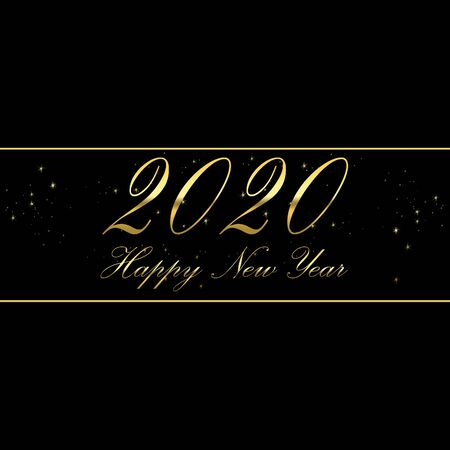 2020 happy new year with golden lettering on a black background Archivio Fotografico