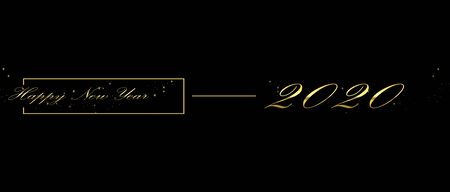 2020 happy new year with golden lettering on a black background