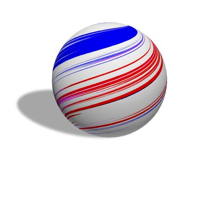 Light red and blue sphere on a white background
