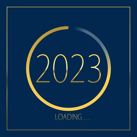 2023 happy new year golden loading progress bar isolated on blue background.