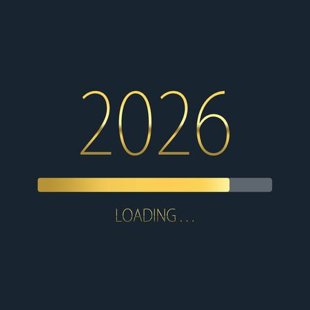 2026 happy new year golden loading progress bar isolated on dark background.