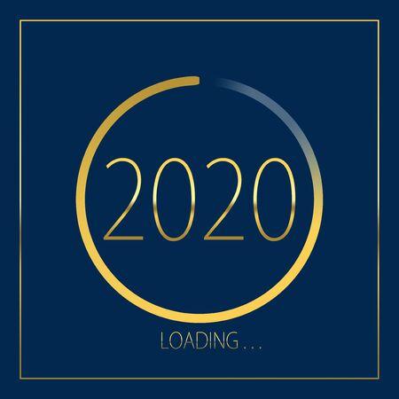 2020 happy new year golden loading progress bar isolated on blue background.