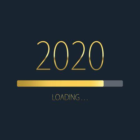 Golden loading progress bar of 2020, happy new year isolated on dark background. Stock Photo