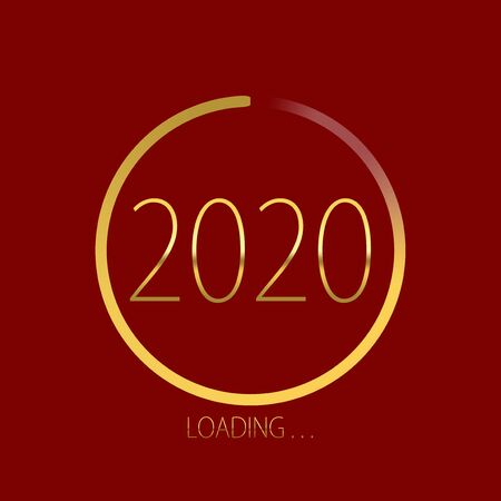2020 happy new year golden loading progress bar isolated on red background.