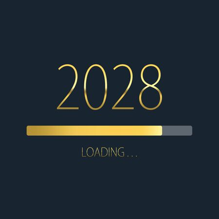 2028 happy new year golden loading progress bar isolated on dark background. Stock Photo