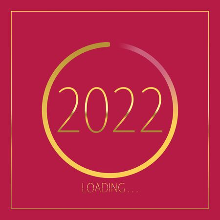 2022 happy new year golden loading progress bar isolated on pink background.