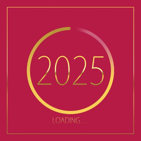 2025 happy new year golden loading progress bar isolated on pink background.