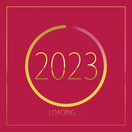 2023 happy new year golden loading progress bar isolated on pink background.