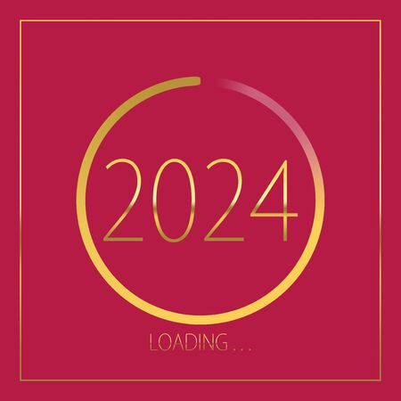 2024 happy new year golden loading progress bar isolated on pink background.