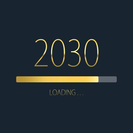 2030 happy new year golden loading progress bar isolated on dark background. Archivio Fotografico