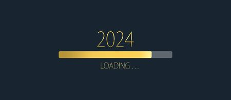 2024 happy new year golden loading progress bar isolated on dark background. Archivio Fotografico
