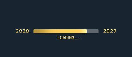 Golden loading progress bar of 2028, 2029, happy new years isolated on dark background. Stock Photo