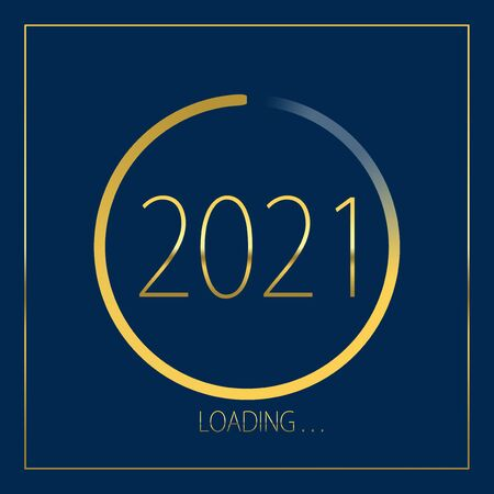 2021 happy new year golden loading progress bar isolated on blue background. Archivio Fotografico