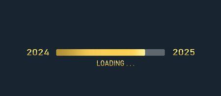 Golden loading progress bar of 2024, 2025, happy new years isolated on dark background.