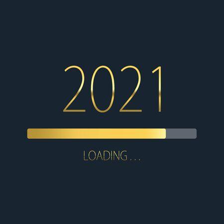 2021 happy new year golden loading progress bar isolated on dark background. Stock Photo