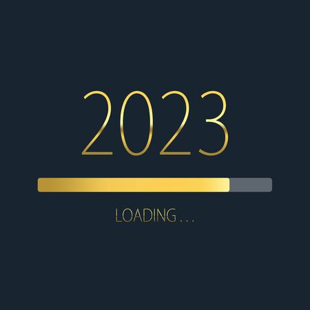 2023 happy new year golden loading progress bar isolated on dark background.
