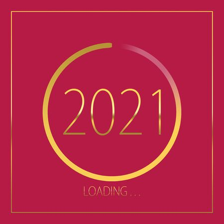 2021 happy new year golden loading progress bar isolated on pink background.
