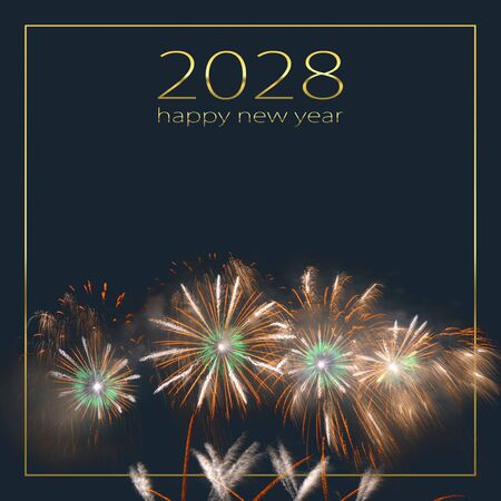 Colorful fireworks exploding and filling the darkness of the night sky against a dark background with the words 2028 happy new year.