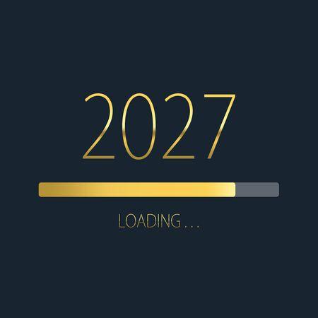 2027 happy new year golden loading progress bar isolated on dark background.