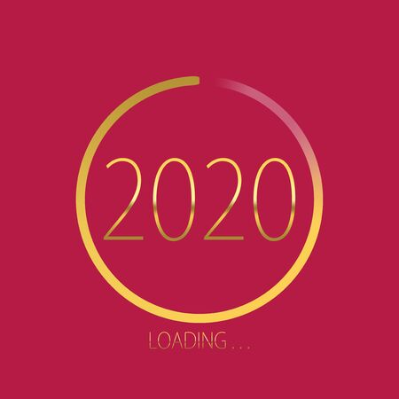 2020 happy new year golden loading progress bar isolated on pink background.
